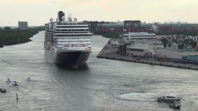 Ocean liner departs stock video