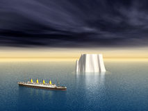 Ocean Liner and Iceberg Stock Photo