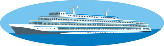 Ocean liner. Illustration of luxurious ocean liner in ellipse frame, isolated on white background Royalty Free Stock Images