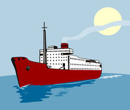 Ocean liner with moon Royalty Free Stock Photo