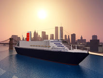 Ocean Liner in New York Royalty Free Stock Photo