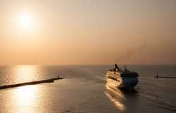 An Ocean Liner Passenger Ship entering Harbor stock photography