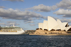 Ocean liner Radiance of the Seas passing the Opera House Royalty Free Stock Photo