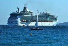 Ocean liner. Transatlantic ocean liner in the water expanse Côte d'Azur France Stock Photos