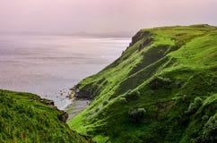 Ocean linia brzegowa z zielonymi falezami w Szkockich średniogórzach zdjęcia stock