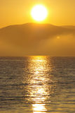 Ocean living 6. Misty sunset in the English Bay stock photo