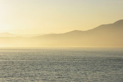 Ocean living 8. Beautiful misty sunset in Vancouver, Canada Stock Photos