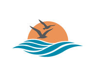 Ocean logo design. Abstract design of ocean logo with waves and seagulls royalty free illustration