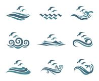Ocean logo set. Collection of ocean logo with waves and seagulls Stock Image