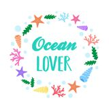 Ocean lover marine wreath Stock Photo