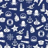 Ocean lub denny bezszwowy wzór z kotwicową łódkowatą butelki skorupy ośmiornicą Zdjęcie Stock