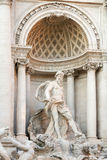 Ocean ,the main statue of the Trevi fountain. The scene of The Trevi fountain, a large statue of Ocean who drives a chariot shape of a shell pulled by two Royalty Free Stock Photo