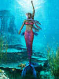 Ocean Mermaid. The Mermaid is a legendary aquatic creature with the upper body of a woman and the tail of a fish Stock Photo