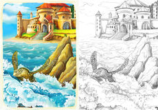 The ocean and the mermaids - coloring page Royalty Free Stock Photos