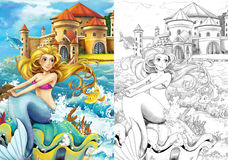The ocean and the mermaids - coloring page Stock Photography