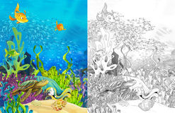 The ocean and the mermaids - coloring page Royalty Free Stock Images