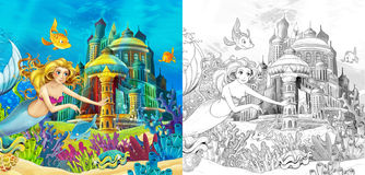 The ocean and the mermaids - coloring page Stock Images