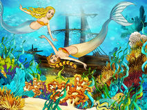 The ocean and the mermaids Stock Image