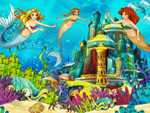 The ocean and the mermaids Stock Photos