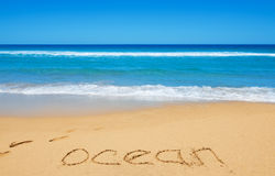 Ocean message on the beach sand Royalty Free Stock Image