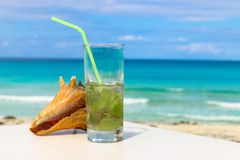 Ocean and mojitos, Cuba, Varadero. A glass of mojito and sea shell on the background of the Atlantic Ocean Royalty Free Stock Images