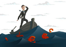 Ocean money. Man on the boat in the ocean of money. Vector Stock Image