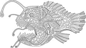 Ocean monster angler fish. Coloring book page with angler fish on white background Stock Photos