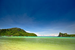 Ocean and mountain landscape. Beautiful beach in phi phis island , Phuket, Thailand Royalty Free Stock Photos