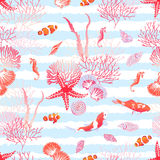 Ocean nature with fishes, red star, shells, seahorse, algae seam Royalty Free Stock Images