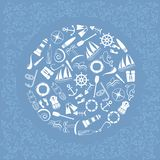 Ocean8. Nautical elements in circle. Line art style. Vector illustration Royalty Free Stock Image