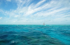 Ocean near Key Largo. Coral reef marker in the ocean near Key Largo Stock Images