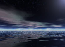 Ocean Night. Tropic scene. 3D rendered work Royalty Free Stock Photography