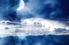 Ocean at night. Noctural wiew of moon and ocean Stock Photo