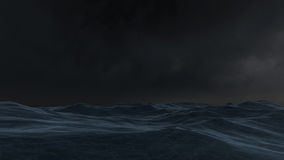 Ocean at night. 3D rendered enviroment scene of ocean at night with moon light Stock Photography