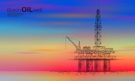 Ocean oil gas drilling rig low poly business concept. Finance economy petrol production. Petroleum fuel industry vector illustration