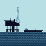 Ocean oil platform. Sea oil platform with a tanker. Flat style vector illustration Royalty Free Stock Photo