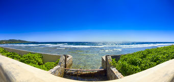 Ocean Panorama. Panoramic view of the Caribbean Sea on Roatan Island in Honduras Royalty Free Stock Photo