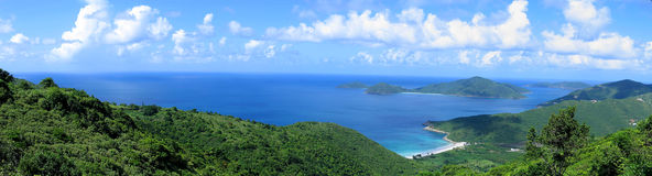 Ocean Panorama. View of Josiah's Bay, Tortola from the hilltop Royalty Free Stock Photo