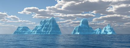 Ocean panorama with icebergs. Computer generated 3D illustration with icebergs in the sea Stock Photos