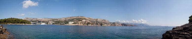 Ocean panoramic view. A panoramic view of the hill side in Dubrovnik, Croatia Stock Photo