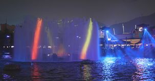Ocean Park, Hong Kong 09 December 2017:- Light showing on water. Fountain in Ocean park at night, laser light performance in the evening Stock Photos