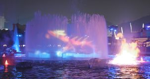Ocean Park, Hong Kong 09 December 2017:- Light showing on water. Fountain in Ocean park at night Royalty Free Stock Images