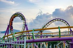 People on roller coaster on Hong Kong Ocean Park stock images
