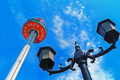 Ocean park tower and retro lamps Royalty Free Stock Photo