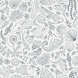 Ocean Pattern. Vector seamless pattern with hand drawn fishes, corrals, shells, seaweeds, sea-horse and other underwater creatures. Ocean background. Tropical Royalty Free Stock Photos