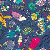 Ocean Pattern. Vector seamless pattern with hand drawn fishes, corrals, shells, seaweeds, sea-horse and other underwater creatures. Ocean background. Tropical Stock Photos