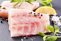 Ocean perch. With fresh herbs and spices stock photos