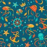 Ocean pielęgnuje bezszwowego wzór Zdjęcie Stock