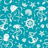 Ocean pielęgnuje bezszwowego wzór Zdjęcia Stock
