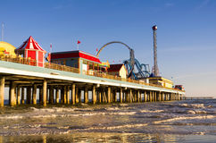 Ocean Pier with Amusment Park Royalty Free Stock Photography